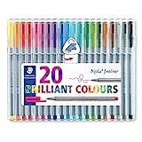 Staedtler Rotuladores de colores brillantes de punta fina multicolor Triplus Fineliner. Punta redonda, ergonómico, lavable - Pack de 20 marcadores. 334 SB20