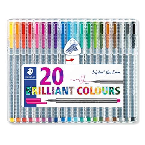Staedtler triplus 334 SB20 Fineliner, dreikant, Set mit 20 brillanten Farben
