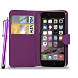 N+ INDIA PURPLE LEATHER WALLET FLIP CASE COVER POUCH FOR APPLE IPHONE 6 6S + TOUCH STYLUS PEN