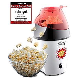 Russell Hobbs 24630-56 Popcornmaschine Fiesta, Heißluft Popcorn Maker, ohne Fett & Öl, inkl. Messlöffel, 1200 Watt, weiß/rot