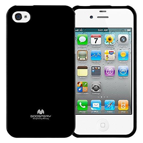 Goospery Marlang Marlang iPhone 4/4S Hülle, Gratis Displayschutzfolie [Slim Fit] TPU Fall [Flexibel] Pearl Jelly [Schutz] Bumper Cover für Apple iPhone 4S, Schwarz 4s Pearl Case Iphone