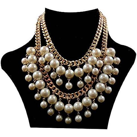 Dansuet Collana 2 Broke Pearl catena ragazze Caroline Gold Crema Choker, collana di perle Collana girocollo per le donne - Crema Girocollo
