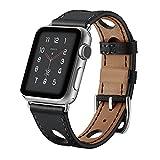 Armband für Apple Watch der Serien 3, 2, 1, Lederarmband, mit gestanzten Löchern für iWatch, Ersatz-Armband, 38 und 42mm, WF-324, Schwarz , 42mm
