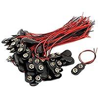 DealMux 60 piezas de 15 cm, longitud del cable Clips Negro plástico de la batería de 9V conectores de tipo T Buckles