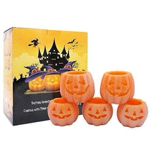 Set von 5 Flammenlose Kürbis Echtwachskerzen mit 6H Timer - Batteriebetriebene LED Jack O 'Laterne für Halloween Dekoration
