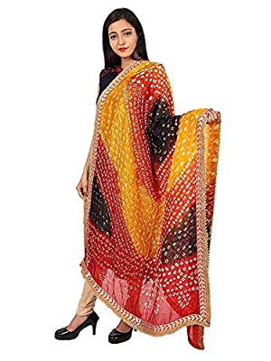 womens dupatta silk bandej with pure gota work