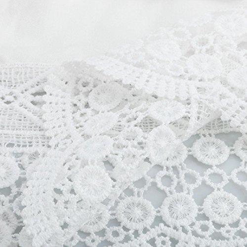 Bekleidung Longra Damen weiße Farbe V Ansatz Kleid drei Viertel Hülsen Spitze Häkelarbeit lose Blusenkleid White