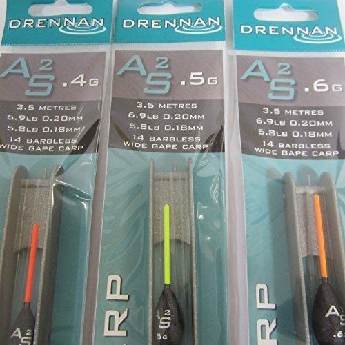 FTD - 2 x quality Drennan AS1, AS2, AS3 & AS4 (Alan Scotthorne) Angelrute treiben Haken - erhältlich in einzeln Größen & Kombinationen - auch kommt mit 10 FTD Ohne Bügel Haken zu Nylon