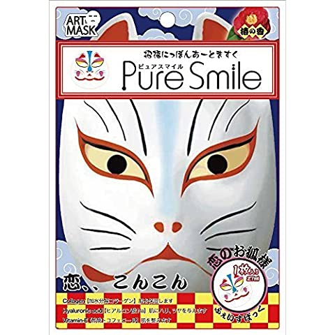 Pure Smile Japan Fox Face Mask 1pc Collagen & Ha Mask with Camellia Scent 1pc Very Fun Japan Cosmetics by Pure Smile