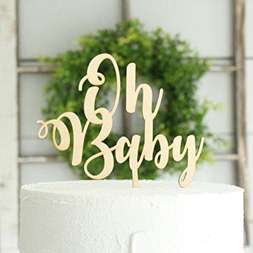 Oh Baby Tortenaufsatz, für Baby Dusche Kuchen Charme Dekoration Spiegel aus Holz goldfarben/silber Farbe Acryl Kuchen Topper Supplies