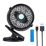 Yasolote Mini Ventilateur Portable avec Batterie et USB Rechargeable Fan Clip 360 Degrés Réglable pour Bureau, Voiture, Landau, Plage, Piscine