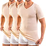 HERMKO 16488 3er Pack Herren Business Shirt mit V-Neck aus Baumwolle/Modal, Größe:D 8 = EU XXL, Farbe:Cream (hautfarben)