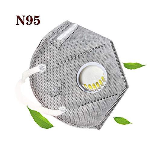 Mascarilla N95 3M,Mascarilla FFP2, Anticontaminación Mascarilla Antipolvo 3M Respirador Mascarilla Facial con Válvula de Exhalación Filtro de Aire Carbón Activado de 5 Capas Unisex Exterior-1 Piezas