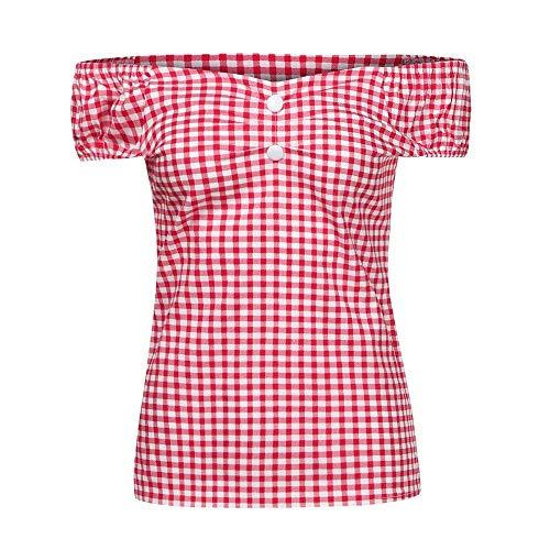 Oberteile Damen Sommer Blusen Kariert Kurzarm Schulterfrei Unikat Style mit Zipper Elastisch Button Wort Kragen Casual Tops Trendigen Young Fashion Blusentop