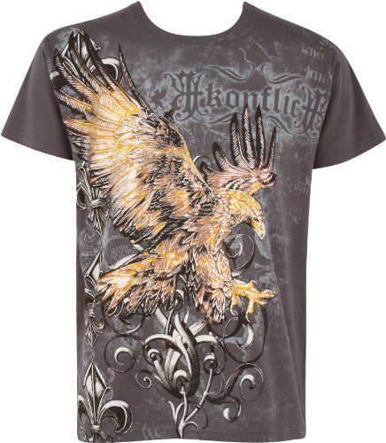 Sakkas 255T Clutching Eagle & Fleur De Lis Metallic Silber Geprägtes Baumwoll-T-Shirt - Holzkohle/Medium -