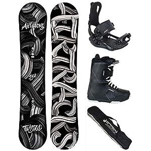 Airtracks Snowboard KOMPLETT Set/Twisted Snowboard Wide Flat Rocker + BINDUNG Master FASTEC + Boots + SB Bag / 150 154 158 162 / cm