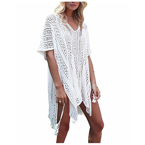 OVERDOSE Frauen Baden Beach Cover Up Kleid Bikini Badeanzug Bademode Crochet Smock(White,Freie Größe