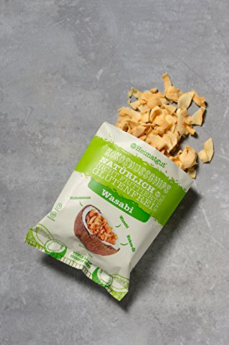 Heimatgut Kokosnusschips Wasabi ( 6 x 40g ) 3-fach gebackene Chips aus Kokosnuss. Veganer und glutenfreier Snack mit echtem lecker scharfem Wasabi. - 5