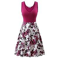 GUBERRY Womens Sleeveless Dress Deep V Neck Floral Cotton Tank Midi Length Dress Rose