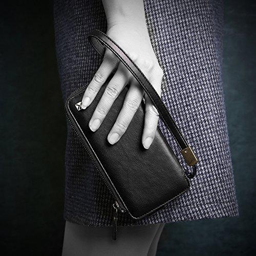 Apple iPhone 7 Hülle, Feitenn Reißverschluss Wallet Case Kreditkarte Kartenfach Spiegel Geldfach Ledertasche Abnehmbar Magnetic Schutzhülle PU Leder Tasche für iPhone 7 - Türkis Schwarz