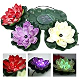 Solar Floating Led Lotus Light Color Changing Solar Power Flower Night Lamp Garden Pond Pool Night Light Waterproof For Party Festival Christmas Decoration