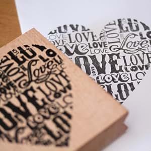 Luck and Luck Étampe en bois et caoutchouc pour artisanat et scrapbooking en forme de cœur Grand format