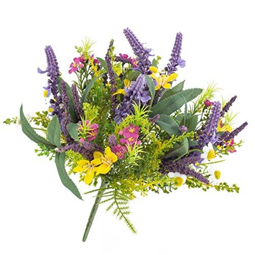 artplants - Künstlicher Frühlingsstrauß aus Lavendel, Butterblume, gelb-lila, 25 cm, Ø 20 cm - Kunstblumenstrauß/Deko Sommer Strauß
