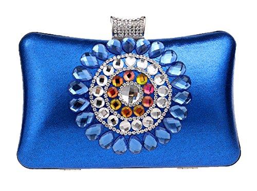 Santimon Pochettes Per Donne Brillante Strass Cristallo Colorato Borsetta Borse De Sera blu