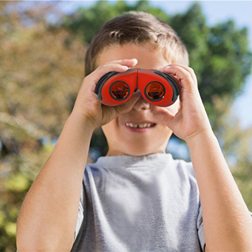 Aoneky Compact Mini Rubber 8 x 21 Kids Binoculars for Bird Watching, Best Christmas Gifts for Children, Recommended for 3 to 10 Years Old Boys, Red