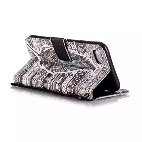 Custodia in Pelle per iPhone 7 (4.7 Pollici), bling perla flip cover per iPhone 7 (4.7 Pollici), Vandot 3D Lusso Accessori Duro protezione completa Antigraffio Vibrazione Portafoglio con Carte Slot Cr Piuma