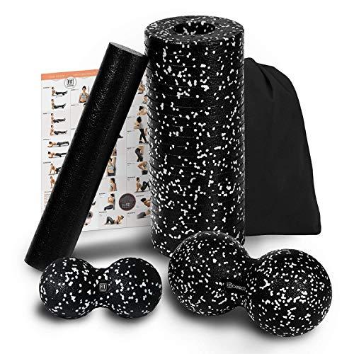 Starter-Set 4 - Faszienrolle mit innerer Rolle, Duoball 8 und 12 cm - Faszienset zur effektiven Faszien & Triggerpunkt Massage inkl. Startguide