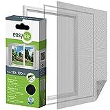 Fliegengitter Insektenschutzgitter für Fenster 110 x 130 cm Anthrazit