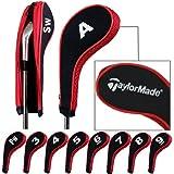 Taylormade golf stampa numero copri mazza ferri con cerniera lungo collo 10pcs/set nero/rosso MT/TL03