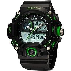 OHSEN Men's Women's Sport Wristwatch Outdoors Waterproof Watch Analog Digital Display Backlight with Alarm Stopwatch - Green