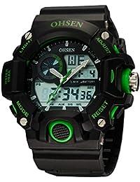 OHSEN Reloj De Deportivo De Hombre Mujer Analógico Digital Electrónico Multifunción Cronómetro Impermeable Con Calendario Alarma - Verde