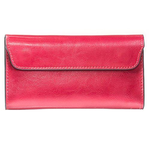 Damen Leder Geschäfts-Geldbörse | Unterarmtasche und Reisetasche | Bewahrt ID, Geld- und Kreditkarten, Tickets | Leicht und kompakt (Weinrot) (Id-geldbörse)