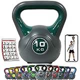 POWRX Kettlebell Kunststoff 2-20 kg inkl. Workout I Kugelhantel in versch. Farben und Gewichten I Bodenschonende Schwunghantel
