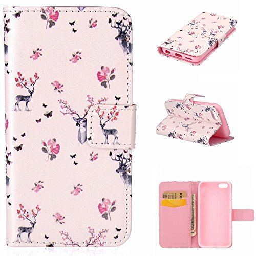 Coque Housse Etui iPhone 5C Cuir PU - Aeeque Coque à Rabat Fonction Portefeuille de Carte Slots Support Bouton Magnétique Case Housse Cover Coque iPhone 5C [Charmant Ours Rose] Cerf Charmant