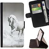 STPlus cheval blanc sur l'eau Animal Coque Portefeuille Housse de Protection Étui pour Samsung Galaxy S7 Edge