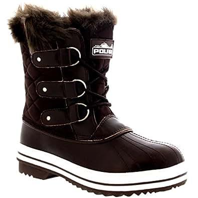916f47a0de064f Damen Schnee Stiefel Nylon Short Schnee Pelz Regen Wasserdicht Stiefel -  Braun - 36 - CD0032