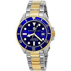 """Henry Jay para hombre 23 K chapados en oro de dos tonos de acero inoxidable Specialty Aquamaster """"Professional Reloj de Buceo"""