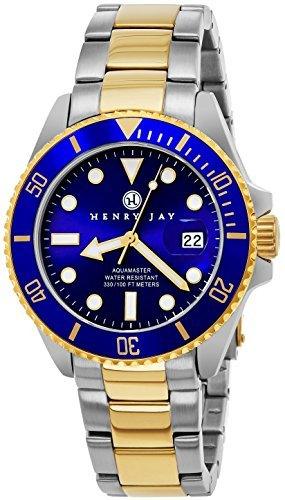 "- 51Us2LkFQEL - Henry Jay Mens 23K Gold Plated Two Tone Stainless Steel ""Specialty Aquamaster"" Professional Dive Watch"