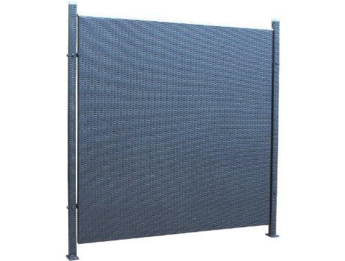 Prime Tech Poly-Rattan Sichtschutz / Zaun, Einzelelement 180 cm in schwarz