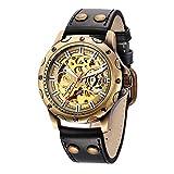 EASTPOLE Herren Armbanduhr Automatik Mechanik Uhr aus Kunstleder Skelett Geschenkbox WMB078