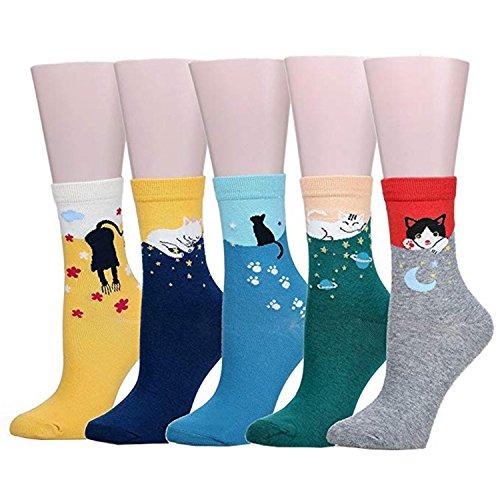 Hishiny calzini 5 paia calze cotone calzini termici dei calzini adulti unisex calze cadere e invernali calzini cotone calzini calzini lavorati a maglia calzini simpatici in cotone (gatto stellato)