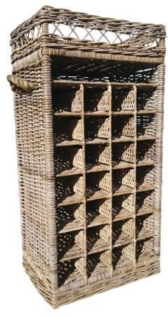 SIDANO Weinregal/Flaschenregal für 28 Flaschen aus Kubu Grey Rattan, 50x37x108 cm
