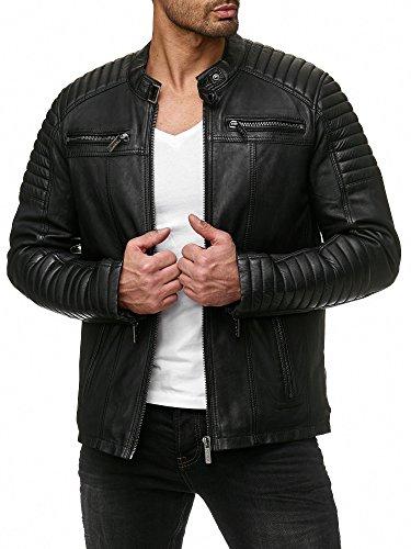 Redbridge Herren Jacke Übergangsjacke Biker Lederjacke Echtleder Kunstleder Baumwolle mit Gesteppten Bereichen (L, Schwarz - Echtleder)