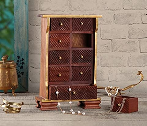 Store Indya Fine Wooden Jewellery Trinket Chest of 9 Drawers Multipurpose Girls Accessories / Art Craft Tools / Sewing Set / Stationary Tabletop Organiser Box