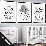 Papierschmiede Kinderposter 3er-Set Bilder Kinderzimmer Deko | Junge Mädchen | 3X DIN A4 Poster | fürs Babyzimmer ohne Bilderrahmen Kunstdruck | Motiv: Sweet Dream