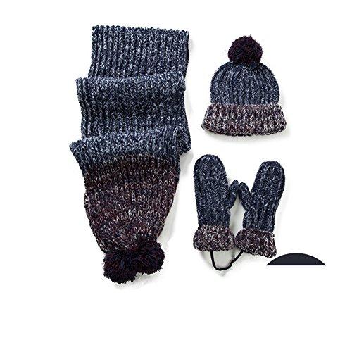 Cappello sciarpa guanti set di tre/In inverno e cachemire lana calda spessa maglia abiti-B Unica